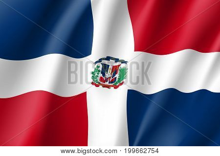 Flag Dominican realistic icon. State insignia of the nation in realistic style on the entire page. Waving state flag. National symbol in the form of a vector illustration