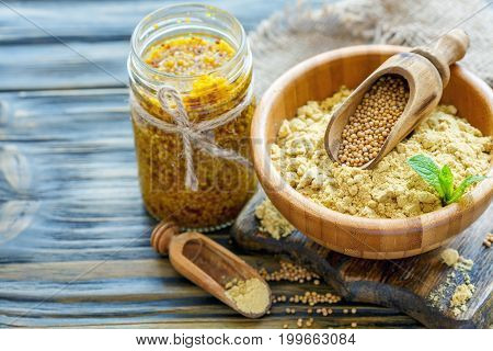 Mustard Powder, Mustard Seeds And Grainy Mustard.