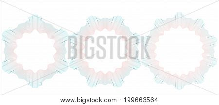 Guilloche pattern rosette for certificate diploma voucher ticket etc. Vector illustration. Abstract circular frame from thin lines.
