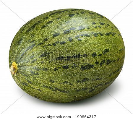 Green melon isolated on white background with clipping path