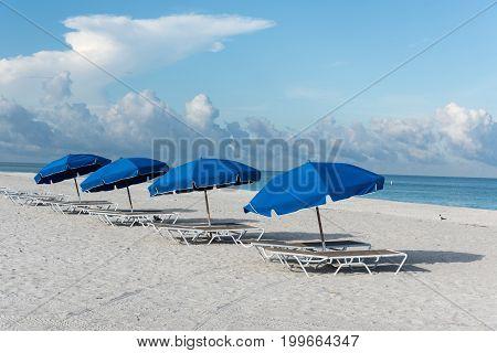 Sun umbrellas on Clearwater Beach, Florida, USA