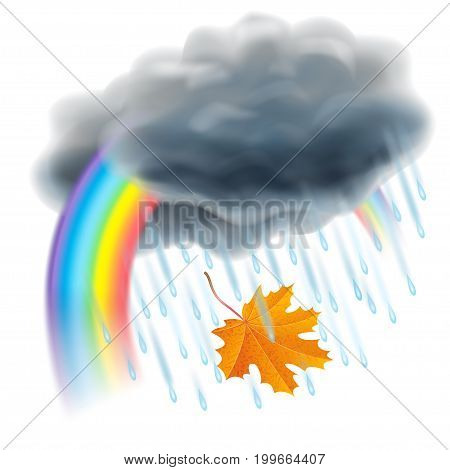 Rain illustration. Realistic gray clouds raindrops rainbow and falling orange maple leaf. Autumn and rain different weather season specific. Vector illustration