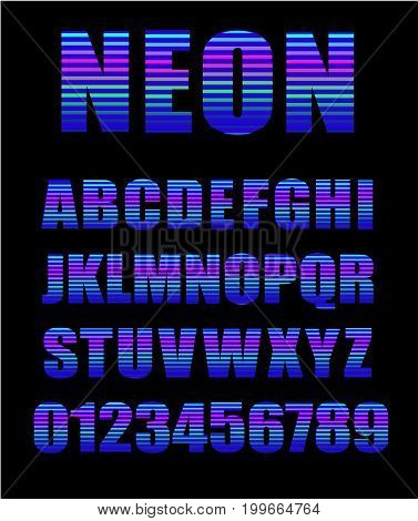retro style neon tube glow typeface. Latin neon alphabet letters and numbers, vector illustration