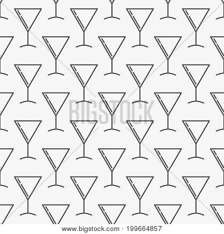 Martini cocktail glass seamless vector minimal pattern