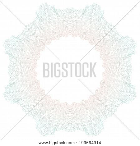 Guilloche pattern for certificate diploma voucher money design check ticket etc. Circle border frame from thin lines with gradient. Vector illustration.