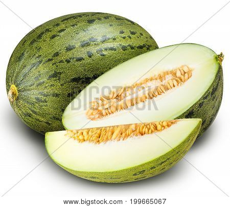 Group of green melons isolated on white background with clipping path