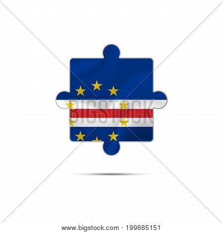 Isolated piece of puzzle with the Cape Verde flag. Vector illustration.
