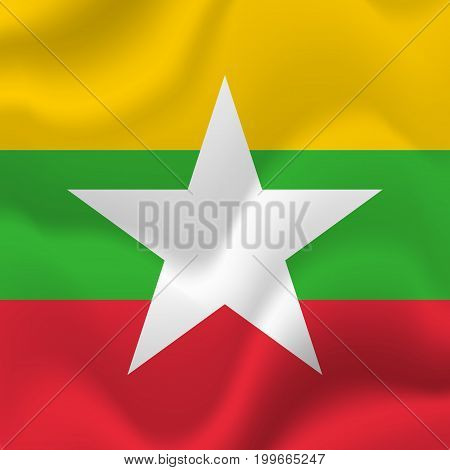 Myanmar waving flag. Waving flag. Vector illustration.