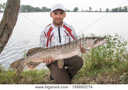 Fisherman With Pike Fish. Catch And Release Trophy