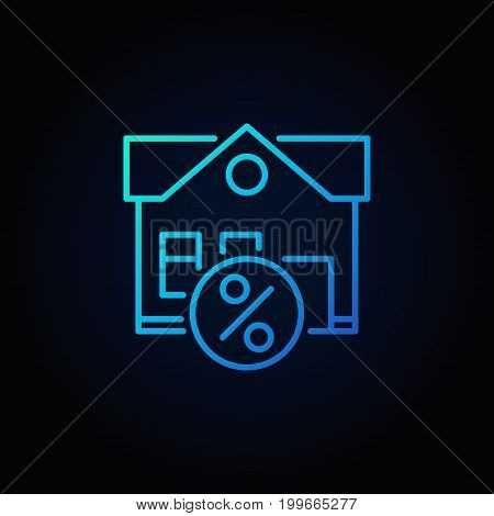Leasing property blue icon - vector house with percent outline symbol on dark background