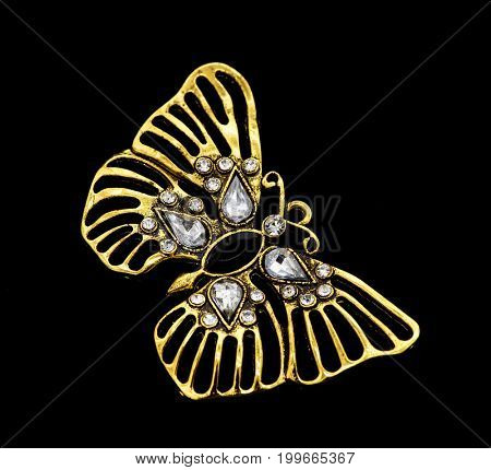 Luxury pendant butterfly with diamonds on black background