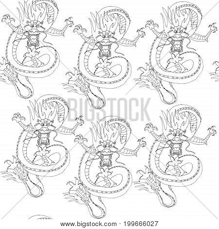 Raster seamless pattern with dragons. China dragon dancing. Black and white image on mythological animal. Can be used as adult coloring book.
