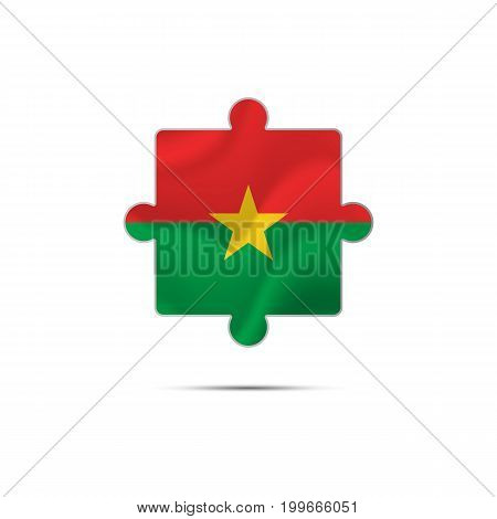 Isolated piece of puzzle with the Burkina Faso flag. Vector illustration.