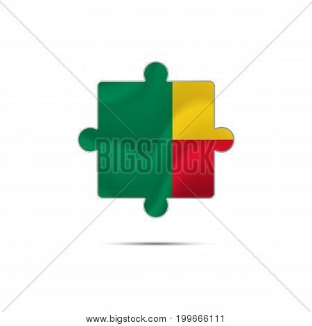 Isolated piece of puzzle with the Benin flag. Vector illustration.