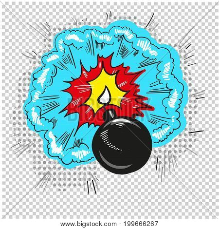 old bomb starting to explode comic book design vector