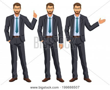 Man in business suit with tie. Bearded guy gesturing. Elegant businessman in different poses. Stock vector