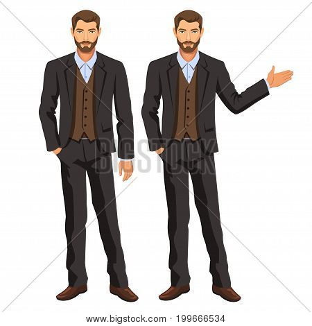Man in business suit with vest. Bearded guy gesturing. Elegant businessman in costume. Stock vector