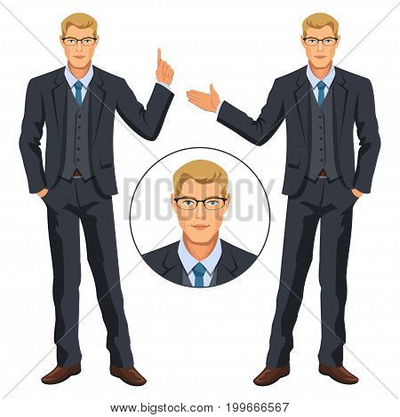 Man in business suit with vest. Handsome guy gesturing. Elegant businessman in costume and glasses. Avatar. Stock vector