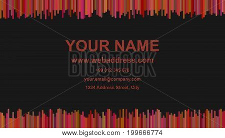 Modern abstract business card template design - vector corporate card illustration with vertical stripes in dark tones on black background