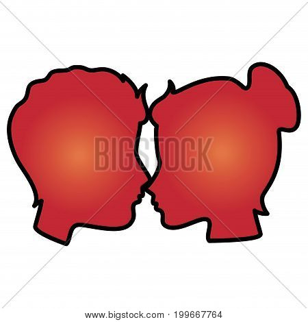 lovers couple profile kissing vector illustration design