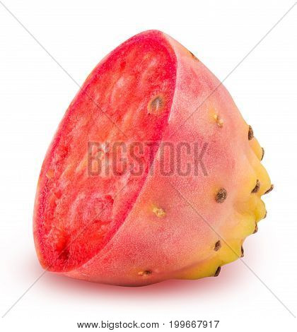 Sliced Red Opuntia Isolated On White Background