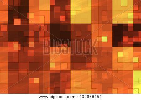 Abstract Fractal Orange Flashing Cubes Illustration Background