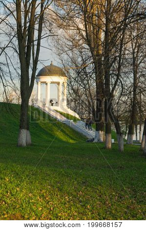 Ostrovsky pavilion view from trees sunset in Kostroma, Russia