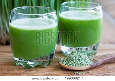 Two Shots Of Fresh Barley Grass Juice
