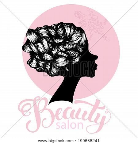 Woman beautiful silhouette with hair style, illustration may be use for beauty salon signboard