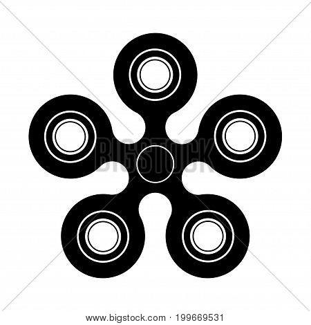 Vector modern spinner black icon on white background. Logo symbol