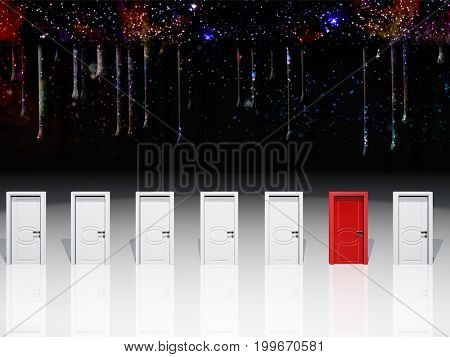 Surreal digital art. Seven white door with one red door.   3D rendering     Some elements courtesy of NASA