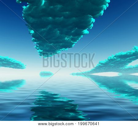 Surreal digital art. Blue clouds reflected in the water surface.   3D rendering