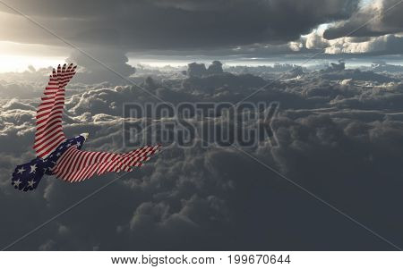 Eagle in US national colors flies above clouds.   3D rendering