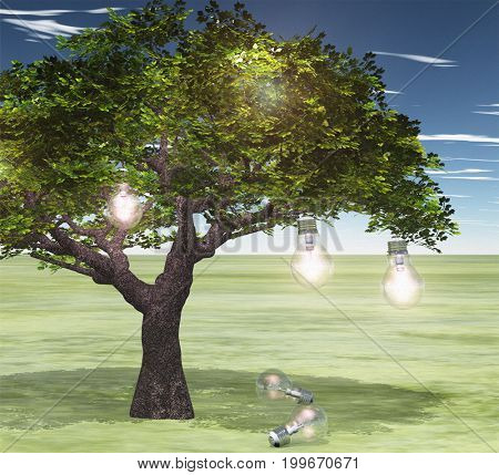 Surreal digital art. Green tree with light bulbs symbolizes knowledge and ideas.    3D rendering