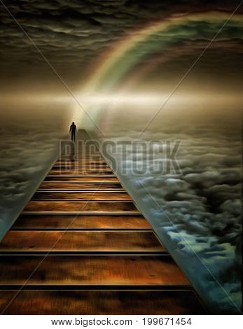 Surreal painting. Man walks on a road in the sky.   3D rendering