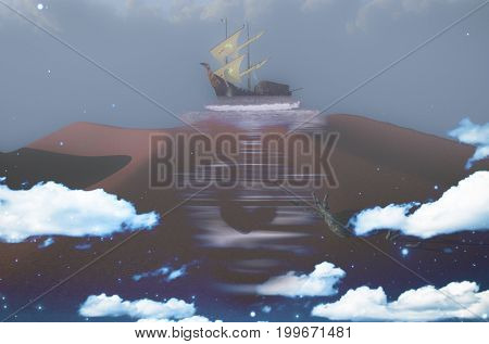 Complex surreal painting. Ancient ship on a sand dune. Mask in the sky.   3D rendering