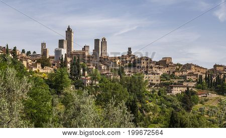 View of San Gimignano towers in Italy