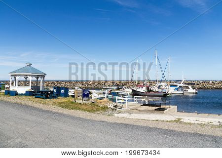Riviere-Madeleine Canada-10 August 2017 : View of Riviere-Madeleine marina port in Gaspesie Quebec Canada at daytime summer