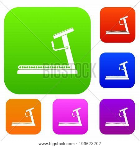 Treadmill set icon in different colors isolated vector illustration. Premium collection