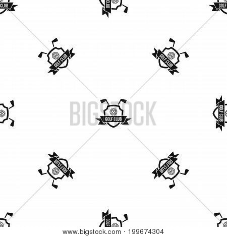 Golf club emblem pattern repeat seamless in black color for any design. Vector geometric illustration