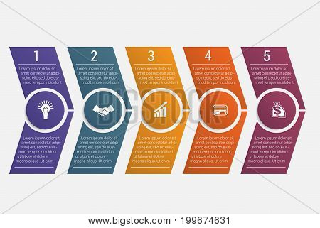 Horizontal numbered color arrows with text template infographic for five positions