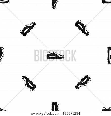 Golf shoe pattern repeat seamless in black color for any design. Vector geometric illustration