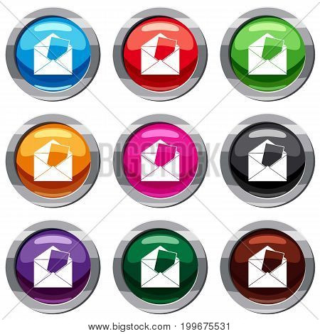 Envelope set icon isolated on white. 9 icon collection vector illustration