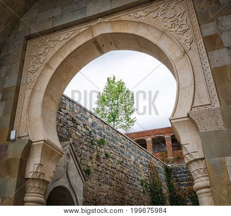 View on arch entrance on Rabati Castle complex in Akhaltsikhe, Georgia.