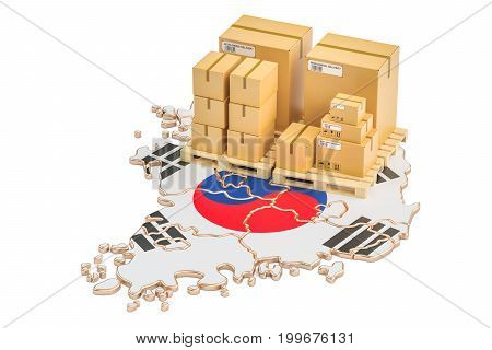 Shipping and Delivery from South Korea concept 3D rendering isolated on white background