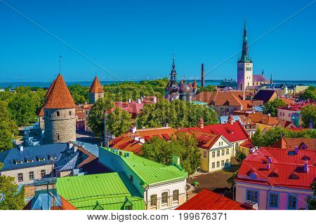 Tallinn, Estonia: aerial top view of the old town in the summer