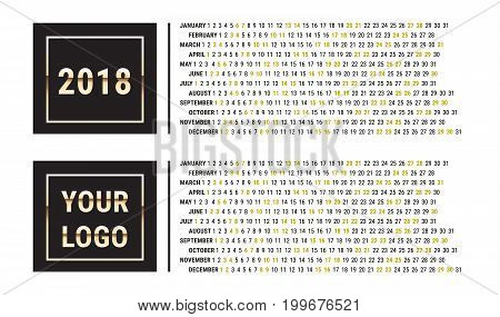 2018 Calendar Planner. Creative Black and Gold Design Template