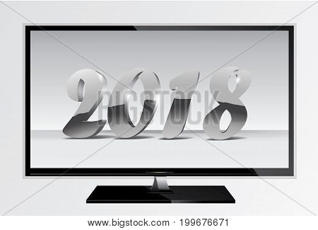 2018 silver chrome numbers design ont tv screen. Happy New Year TV Banner with 2018 Numbers on Gray Background. Vector illustration