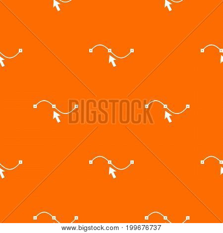 Drawing the curve pattern repeat seamless in orange color for any design. Vector geometric illustration