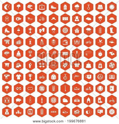 100 woman sport icons set in orange hexagon isolated vector illustration